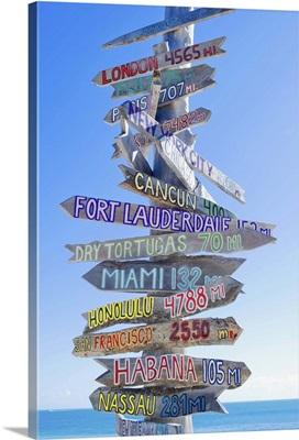 Directions signpost near seaside, Key West, Florida