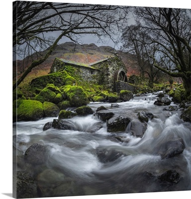 Dissused Water Mill, Borrowdale, Lake District National Park, Cumbria, England, UK