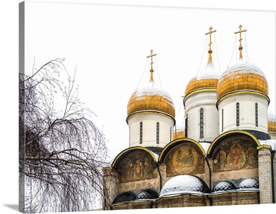 Domes of the Assumption Cathedral in Kremlin, Moscow, Russia