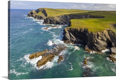 Dramatic Clifftop Coastline Near Trevone, Cornwall, England. Autumn, September, 2020