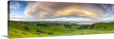 Dramatic cloud formations over the coastal settlement of Karitane, Otago, New Zealand