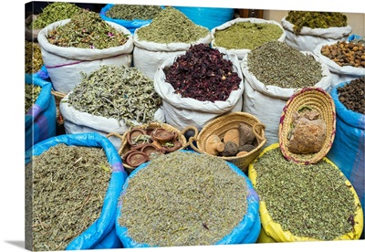 Dried herbs and spices for sale in the Mellah spice market