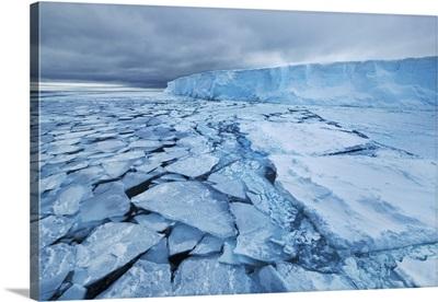 Drift Ice And Tabular Iceberg In Weddell Sea, Between Peninsula And Antarctica