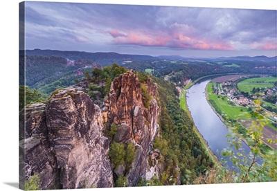 Elbe River at Bastei, Saxon Switzerland National Park, Saxony, Germany