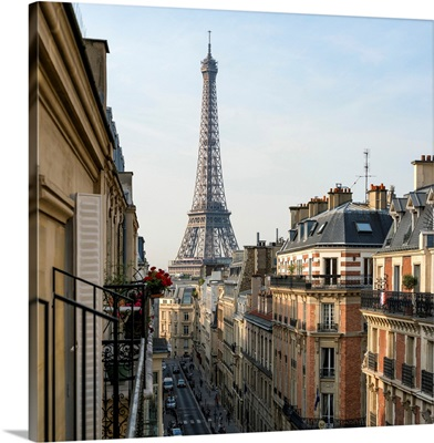 Elevated street view with Eiffel Tower in the background, Paris, France