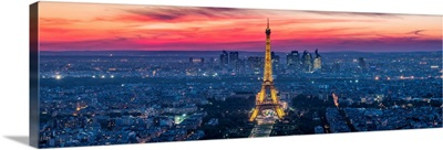 Elevated view of the Eiffel Tower and La Defense, Paris, France