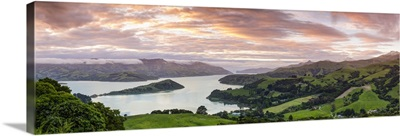 Elevated view over Banks Peninsular, Canterbury, South Island, New Zealand
