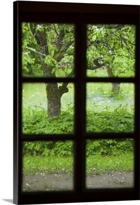 Estonia, Muhu Island, Muhu Open Air Museum, view through fishing hut window