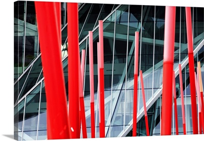 Europe, Dublin, Ireland, Bord Gais Energy theater entrance along Grand Canal dock