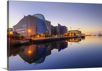 Europe, Dublin, Ireland, buildings reflecting on the Liffey river by night