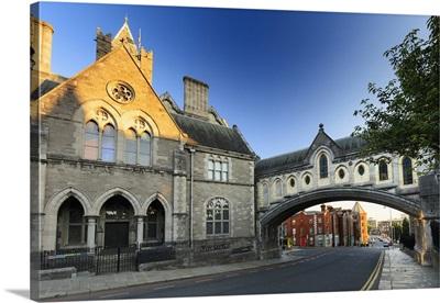 Europe, Dublin, Ireland, Dublinia historic museum at sunset