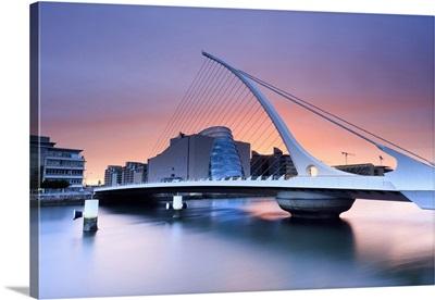 Europe, Dublin, Ireland, Samuel Beckett bridge by night