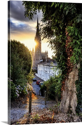 Europe, Ireland, Cork, Cobh Cathedral at colored houses at sunrise