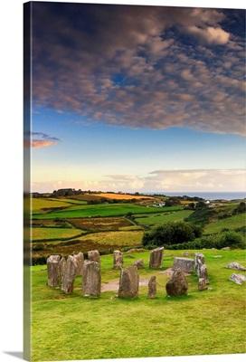 Europe, Ireland, Cork county, Drombeg stone circle at sunset