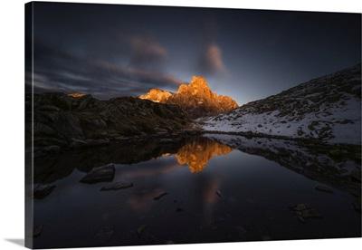 Europe, Italy, Dolomites, Cimon Della Pala, Reflected In The Lakes Of Cavallazza, Sunset