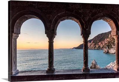 Europe, Italy, Liguria, Portovenere, View Through The Arches Of San Pietro