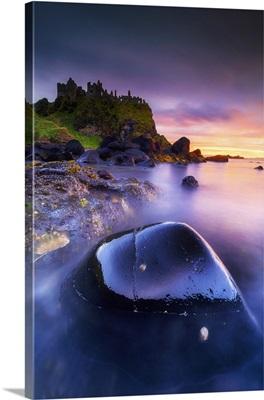 Europe, Northern Ireland Dunluce Castle at sunset