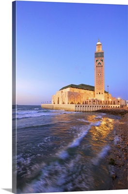 Exterior of Hassan ll Mosque and Coastline at Dusk, Casablanca, Morocco, North Africa