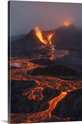 Fagradalsfjall Volcano Eruption, Geldingaldalir, Reykjanes Peninsula, Iceland