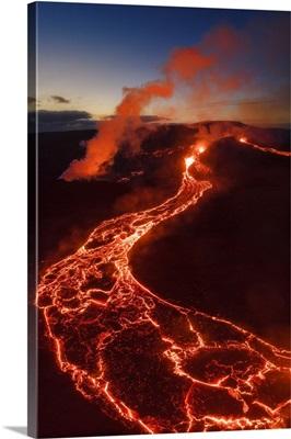 Fagradalsfjall Volcano Eruption. Geldingaldalir, Reykjanes Peninsula, Iceland.