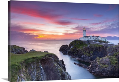 Fanad Head Lighthouse At Sunrise, County Donegal, Ulster Region, Ireland