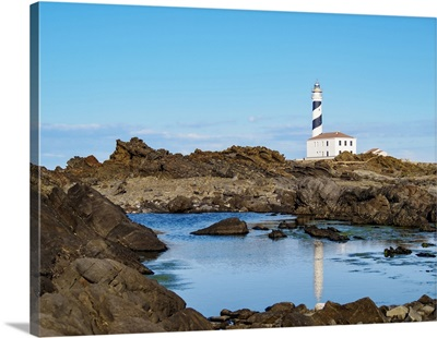 Favaritx Lighthouse At Cap De Favaritx, Menorca Or Minorca, Balearic Islands, Spain