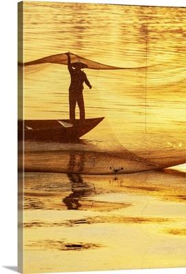 Fisherman Working On The Nets At Sunrise, Thu Bon River, Quang Nam Province, Vietnam