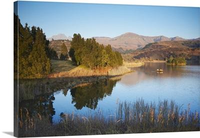 Fishing boat on lake, Ukhahlamba-Drakensberg Park, KwaZulu-Natal, South Africa