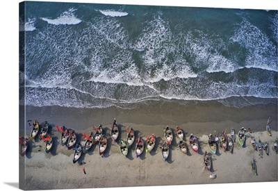Fishing Boats Along The Shoreline Of Beach, Teknaf, Cox's Bazar, Chittagong, Bangladesh