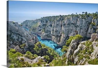 Fjord Landscape In The Calanques, France, Bouches-Du-Rhone, Cassis, Cote d'Azur