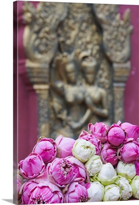 Flower offerings at Wat Phnom, Phnom Penh, Cambodia