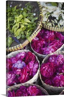 Flowers prepared for offerings, Yogyakarta, Java, Indonesia