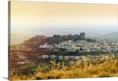 Fortified medieval hilltop town of Castelo de Vide topped by a castle