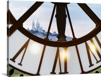 France, Paris, Musee d'orsay, Giant ornamental clock and Basilique Du Sacre Coeur
