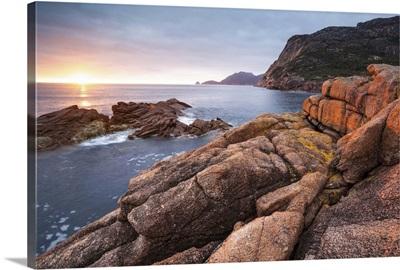 Freycinet National Park, Tasmania, Australia. Sunrise over the coastline