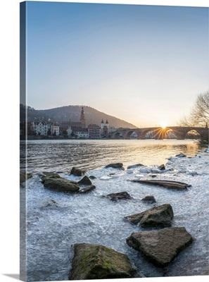 Frozen Neckar River And Old Bridge In Heidelberg, Baden-Wurttemberg, Germany