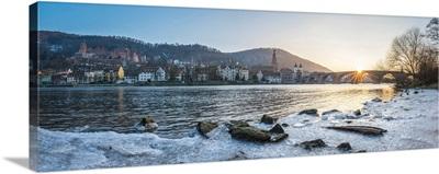 Frozen Neckar River In Heidelberg, Baden-Wurttemberg, Germany
