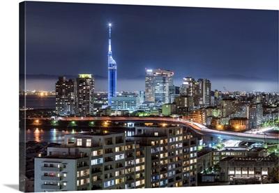 Fukuoka Tower And Modern Architecture At Night, Fukuoka, Kyushu, Japan