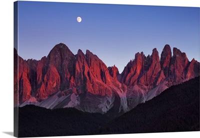 Geisler Peaks With Full Moon, Italy, Trentino-Alto Adige, Alps, Dolomites