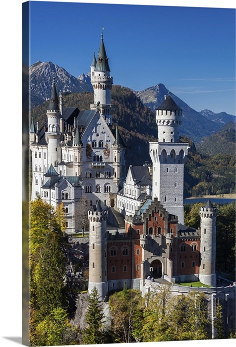 PRINT Schloss Neuschwanstein Castle Fine Art Expressionist Painting  11x17  Bold and Colorful Bavarian Architecture