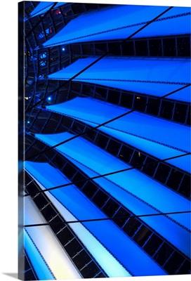 Germany, Berlin, Potsdamer Platz, Sony Center, detail of glass-tent roof