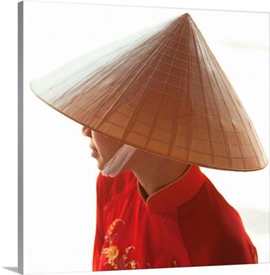 Girl wearing Ao Dai dress, Hanoi, Vietnam