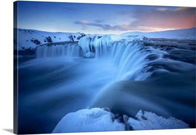 Godafoss Waterfall During A Cold Sunset In Winter, Nordurland, Iceland