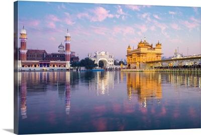 Golden Temple, Lake Of Nectar, Illuminated At Dusk, Punjab, India