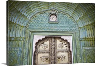 Green Gate in Pitam Niwas Chowk, City Palace, Jaipur, Rajasthan, India