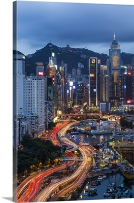 Harbour and Central district of Hong Kong Island and Victoria Peak, Hong Kong, China