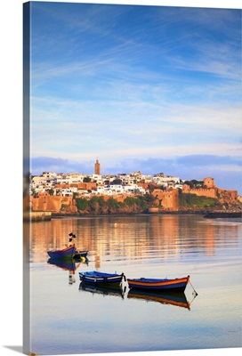Harbour and Fishing Boats with Oudaia Kasbah, Rabat, Morocco, North Africa