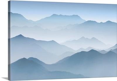 Haze In Hinterland Of Huangshan, China, Anhui, Flying Over Rock, Yellow Mountain