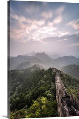 Hebei, China. The Great wall of China, Jinshanling section, at sunrise, long exposure