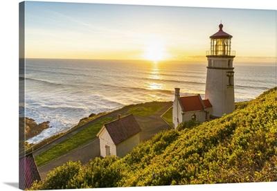 Heceta Head Lighthouse At Sunset. Florence, Lane County, Oregon, USA